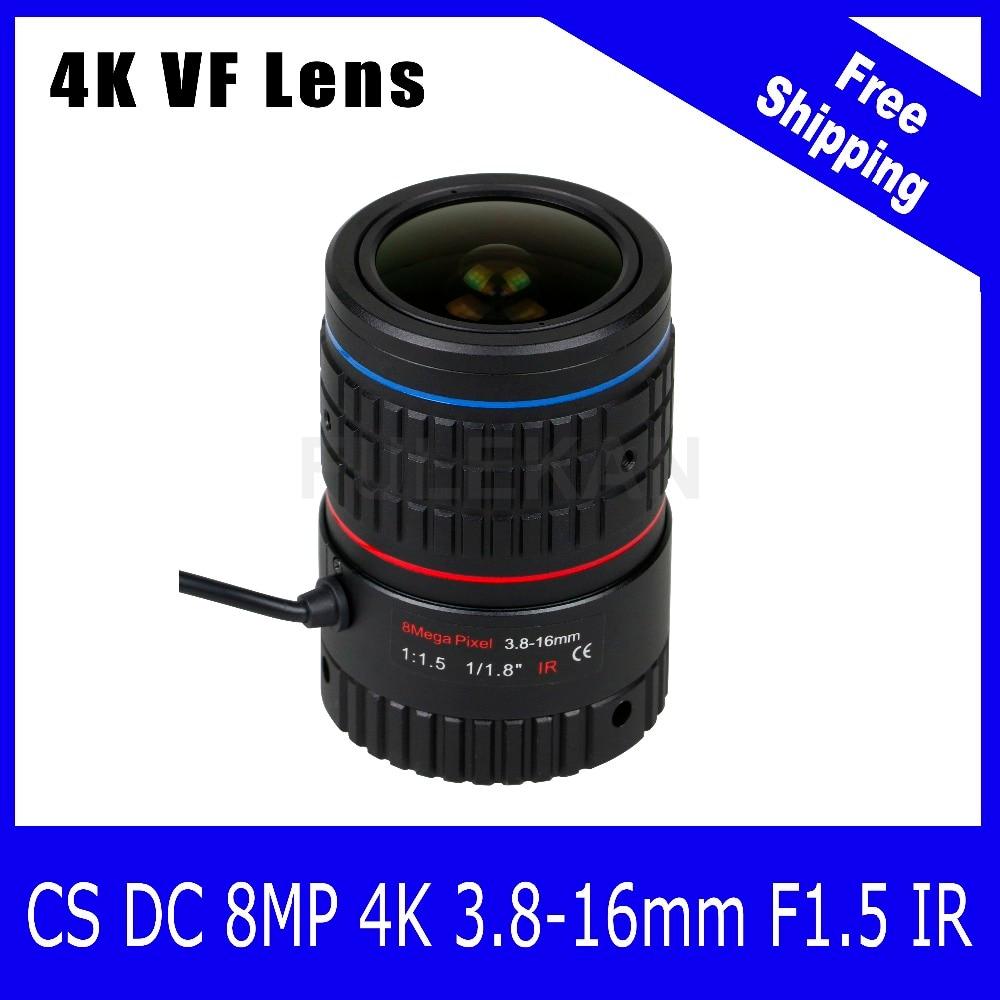 8Megapixel Varifocal CCTV 4K Lens 1/1.8 inch 3.8-16mm CS Mount DC IRIS For SONY IMX226/178 Box Camera/4K Camera Free Shipping 8megapixel varifocal 4k lens 1 1 8 inch 3 6 10mm d14 mount for sony imx274 imx178 ip camera free shipping