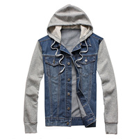 2019 Denim Men Hooded Sportswear Outdoors Casual Fashion Jeans Jackets Hoodies Cowboy Mens Jacket and Coat Plus Size