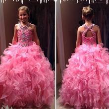 Новое поступление, изготовленные на заказ длинные платья с бретельками на шее, украшенные кристаллами и бусинами, с цветочным узором для девочек г. Бальное платье, детское платье для свадебной вечеринки
