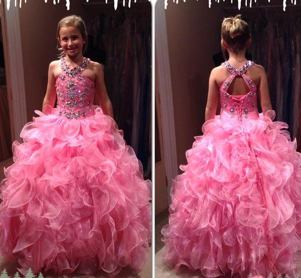New Arrival Custom Made Long Halter Crystal Beading   Flower     Girl     Dresses   2016 Ball Gown Kids Gown For Wedding Party