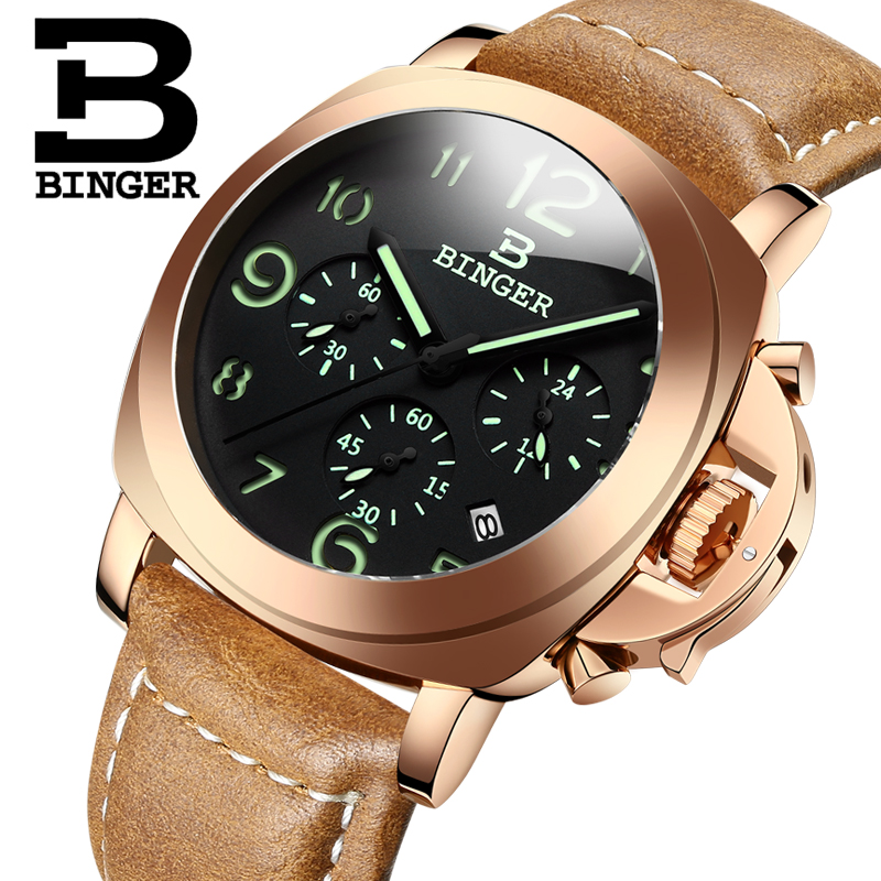 Genuine Luxury BINGER Brand Men leather strap luminous waterproof sports Chronograph calendar military watch large dial genuine switzerland binger brand men automatic mechanical luminous calendar waterproof sports chronograph military gold watch