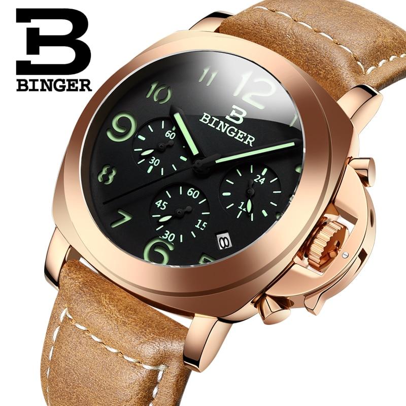 все цены на Genuine Luxury BINGER Brand Men leather strap luminous waterproof sports Chronograph calendar military watch large dial