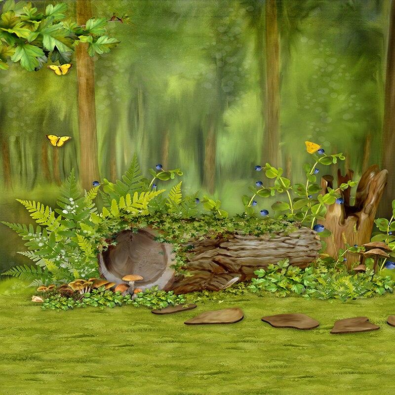 Allenjoy Photo background Metsapuu liblikas roheline muinasjutt Uus - Kaamera ja foto - Foto 3