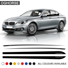 Car Styling Door Side Stripe Skirt Sticker Black Silver Waist Line Body Decal M Performance for BMW 5 Series F10 F11 Accessories