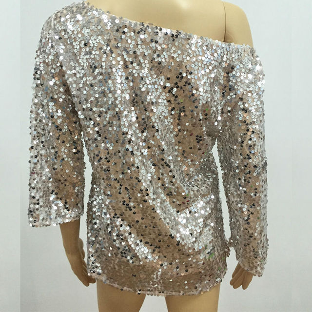 Glitter Off shoulder Sequin Short Sleeve Top