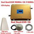 Conjunto completo de Doble banda GSM 3G booster con Pantalla de Señal incluyendo la Antena y Cable, GSM WCDMA Repetidor Set a 900 2100 MHz