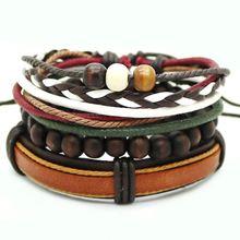 Мужской и женский кожаный плетеный браслет с якорем в стиле