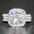 Queen Brilliance 3 Кт Не Менее GH Цвет Обручальное & Свадьба Лаборатория Grown Moissanite Кольцо С Бриллиантом Набор Подлинная 14 К белое Золото