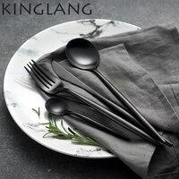 4piece/set Full black high end cultery Western food knife coffee spoon, restaurant tableware, dining spoon for European dessert