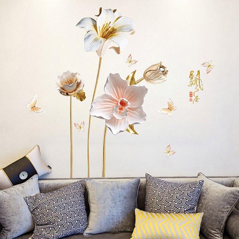 Kreative 3D Relief Stil Orchideen Blumen Wand Aufkleber für Wohnzimmer  Hause Dekoration Kunst Abziehbilder Schlafzimmer Mädchen Zimmer Aufkleber  PVC