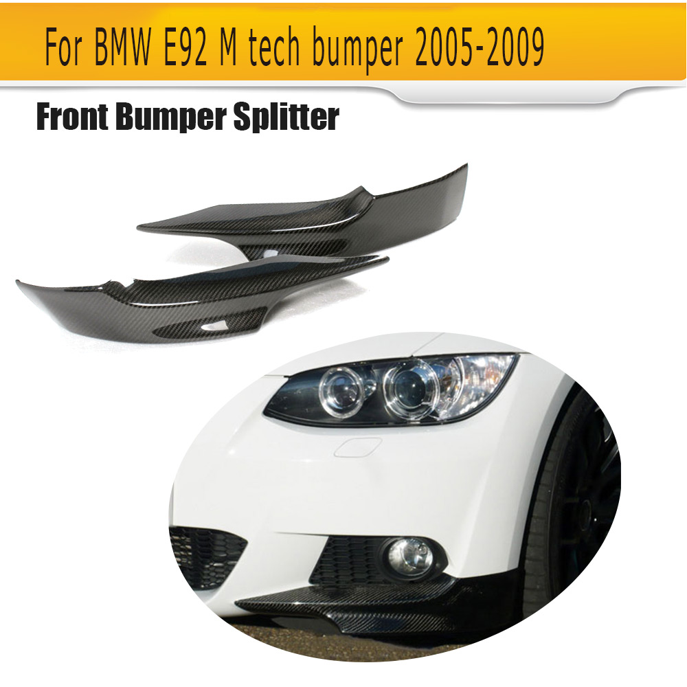 Carbon Fiber Front Bumper Splitter Car Front Apron Lip Spoiler for BMW E92 M Sport 2005 - 2009 4pcs set wrc bumper strip carbon fiber