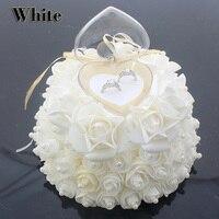 European style wedding ring pillow heart foam rose flower pearl wedding cushion 6 colors