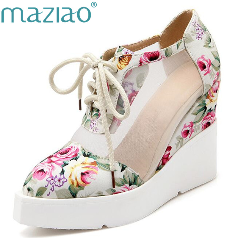 MAZIAO Female High heels Platform shoes Big size 34-42 Summer sandals Casual Pointed toe Women's wedges Blue Red Black Cutout phyanic 2017 gladiator sandals gold silver shoes woman summer platform wedges glitters creepers casual women shoes phy3323