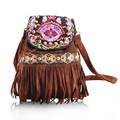 Winter new national Embroidery Bakpack Handmade embroidered shoulder bag Chinese romantic Tassel  Travel School Backpack