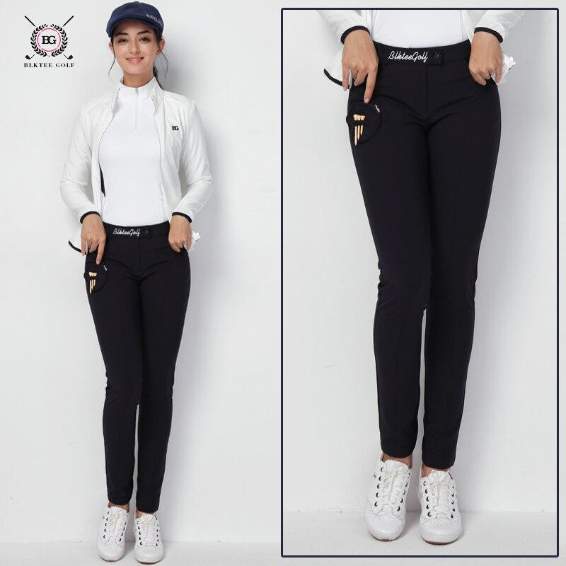 2018 Women golf pants lady long trousers autumn sports pants for Korean style slim elastic pants black white S~XL winter camouflage style lace up slimming elastic cuffs narrow feet men s cotton blend harem long pants
