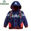 Niños Sudaderas Con Capucha Niños Chaqueta de los Vengadores Capitán América Superhéroe Sudadera Primavera Chaqueta de Abrigo de Manga Larga para Los Niños Del Chándal