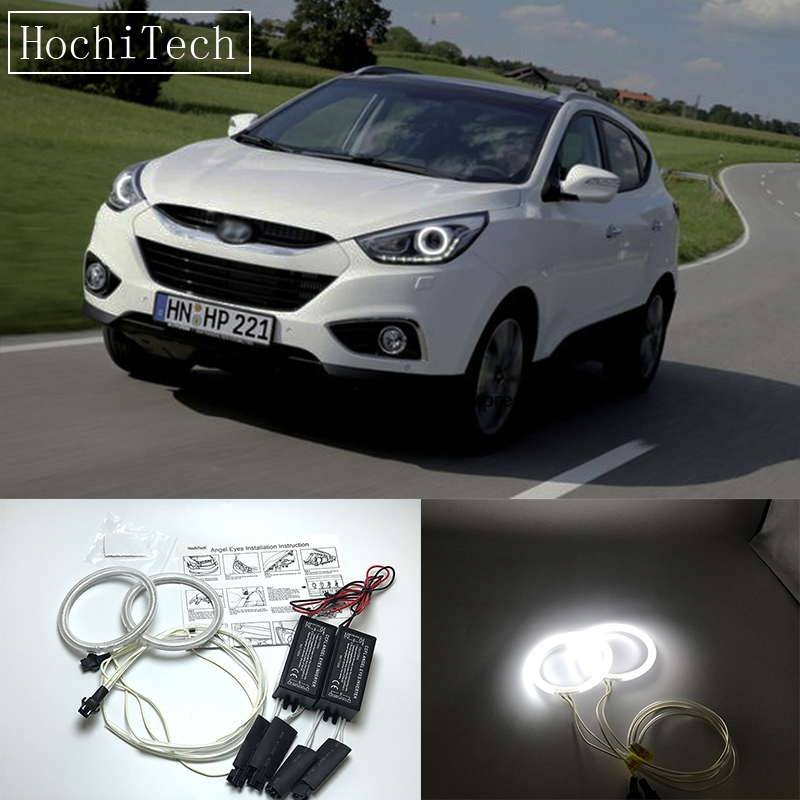 HochiTech For Hyundai ix35 2010-2012 Ultra Bright Day Light DRL CCFL Angel Eyes Demon Eyes Kit Warm White Halo Ring hochitech white 6000k ccfl headlight halo angel demon eyes kit angel eyes light for vw volkswagen golf 5 mk5 2003 2009