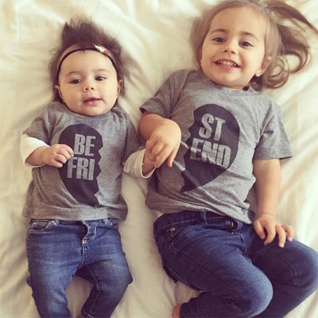 Children Boys Girls T-shirts Family Matching Outfits Brother Sister Top  Tees Kid Baby Best Friend Tshirt 100%Cotton Grey Clothes d03ddaea7