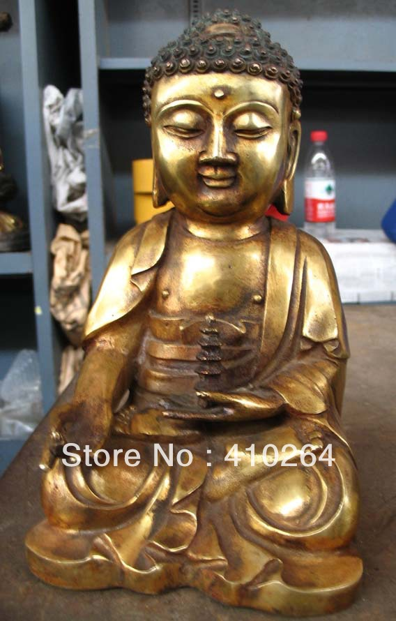 18cm Plate with gold South Korea Buddha Buddhism collections bronze statue