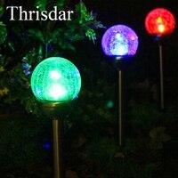 Thrisdar 2PCS RGB Solar Garden Spike Spot Light Crackle Glass Ball Landscape Pathway Lawn Lamps Floor