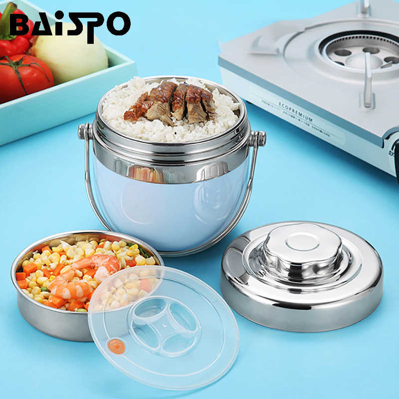 Baispo Stainless Steel Lunch Box Child Thermos Double Food Hot Water Bottle Children Portable Picnic School Food Container Box