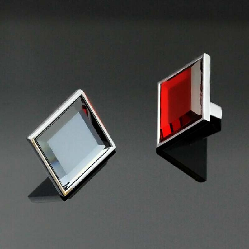 31mm square glass kitchen cabinet handlesred gray crystal wine cabinet knobssilver zinc - Square Kitchen Cabinet Knobs