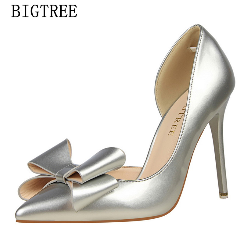 цены  butterfly-knot wedding shoes patent Leather woman pumps designer luxury brand red fetish high heels valentine shoes bigtree shoe