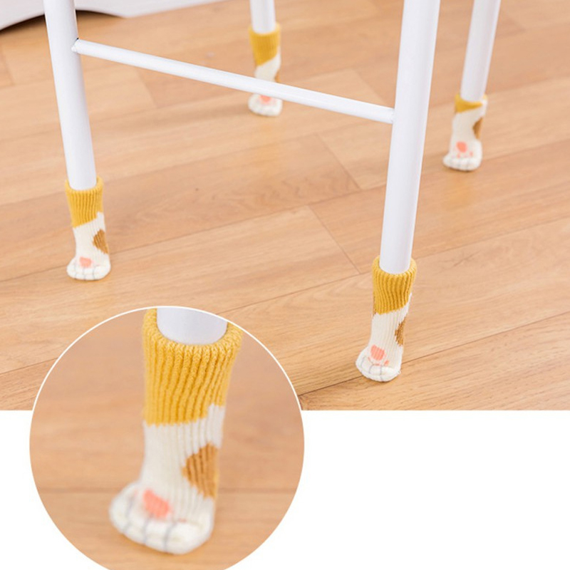 4pcs/lot Nonslip Cotton Chair Leg Caps For Feet Pads Furniture Table Covers Cute Paw Chair Leg Socks Wood Floor Protectors