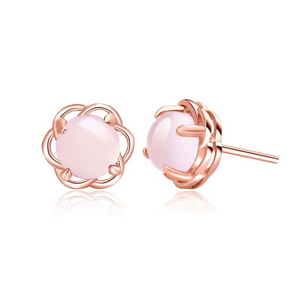 Trendy Rose Gold Color Clear Round Shape Stud Earring Pretty Pink