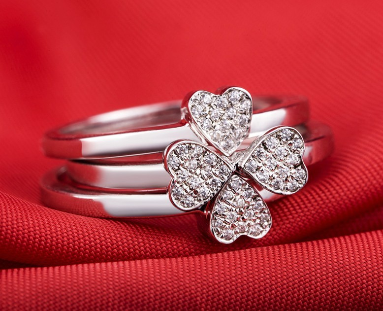 gold clover flower silver jewelry ring daisy plated accessories leaf alloy gift product hugerect fashion rings female four small