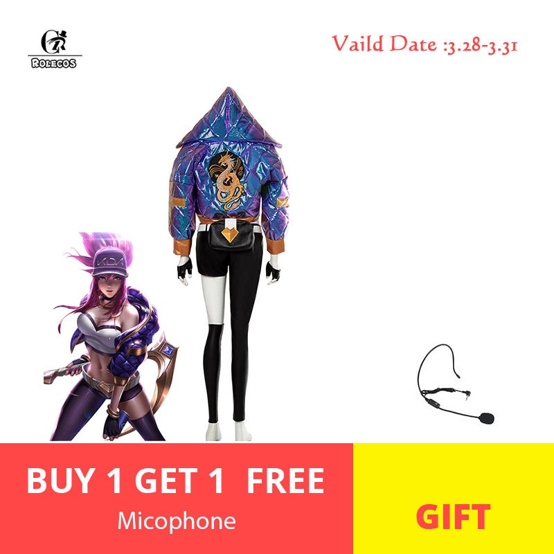 ROLEOCS KDA Akali Cosplay Costume LOL KDA Cosplay Costume Akali Mask Microphone Women Outfit Winter Coat Game Halloween Costume