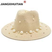 2018 caliente de verano británico perla cordón plano de ala ancha sombrero  de paja sombreado sombrero de Sol de moda de señora s. 9e27d43e138