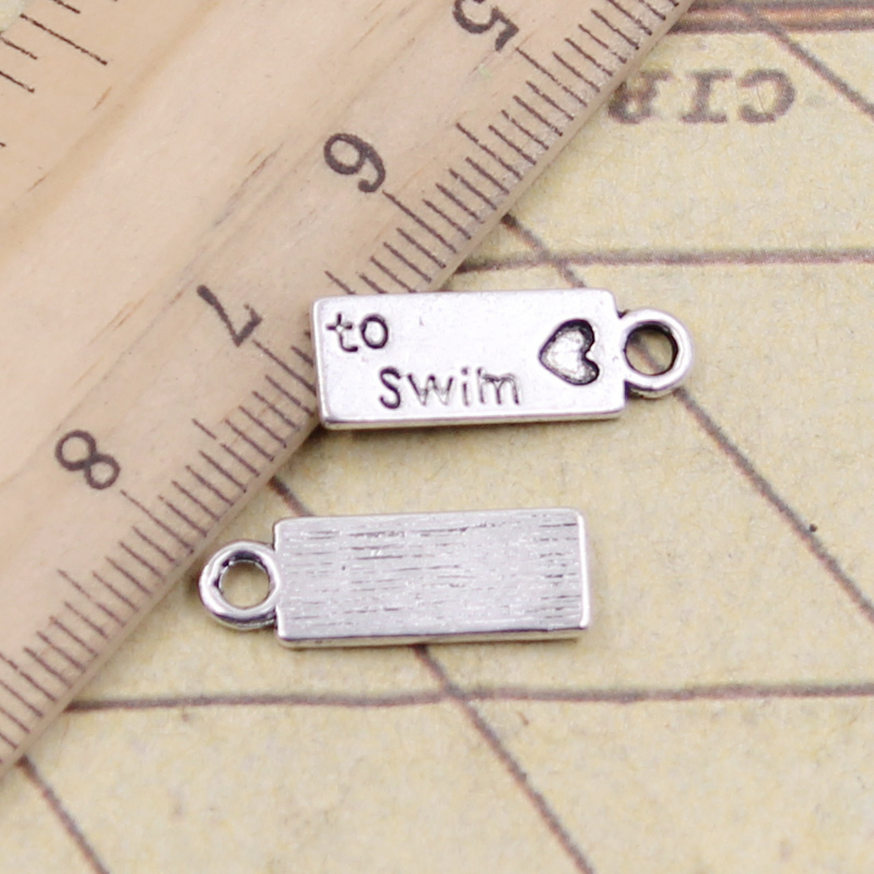 10pcs Charms Plates Love To Swim 18x11mm Tibetan Silver Plated Pendants Antique Jewelry Making Diy Handmade Craft To Enjoy High Reputation At Home And Abroad