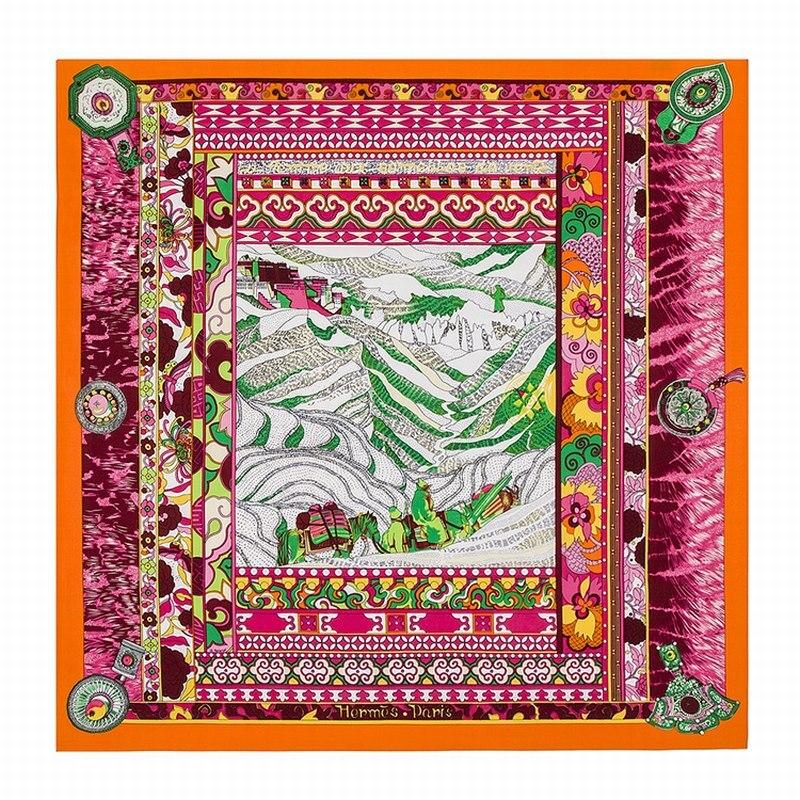 [POBING]100% Twill Silk Square Scarf Women 2017 National Wind Mountain Print High Quality Shawls Scarf Luxury Brand Lady Foulard