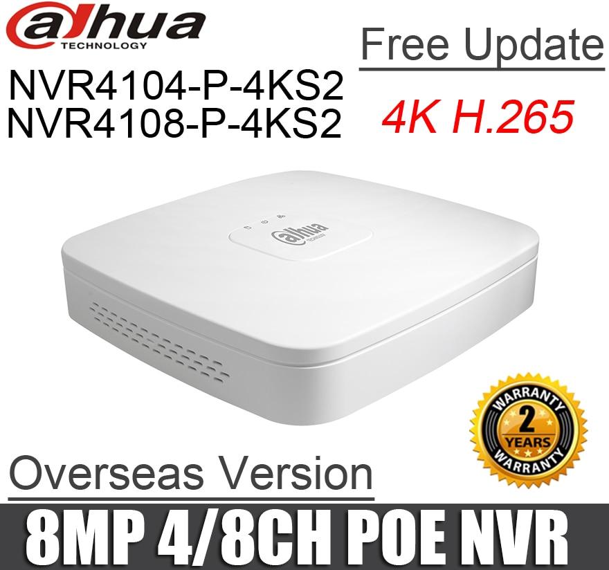 Dahua poe nvr NVR4104 P 4KS2 NVR4108 P 4KS2 4ch 8ch Smart 1U Mini NVR 1080P