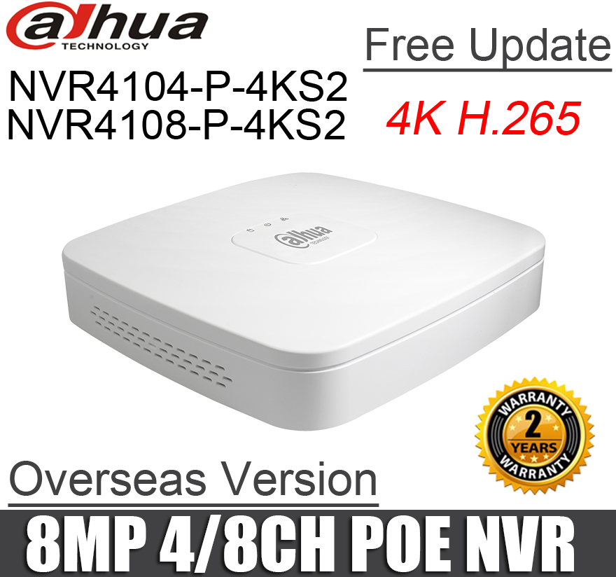 Dahua poe nvr NVR4104 P 4KS2 NVR4108 P 4KS2 4ch 8ch Smart 1U Mini NVR 1080P NVR with 4 POE Ports network video recorder-in Surveillance Video Recorder from Security & Protection    2