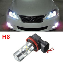 2PCS 60W White 12-SMD H8  LED Bulbs w/ Reflector Mirror Design Fog Lights DRL Replacement + Error Free Canbus Decoders