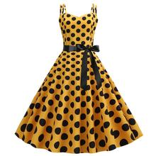 Spaghetti Strap Polka Dot Midi Dress Yellow Black Dots Green Dresses Robe Rockabilly Vintage