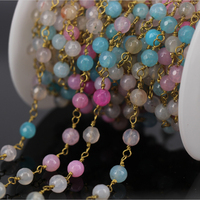 5Meter Mixed colour Jade Faceted Bead Rosary Chain,plated Wire Wrapped Chain Necklace bracelet Jewelry Findings Wholesale