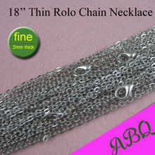 100 - 45cm Dark Silver Thin Rolo Chain Necklace, 18 inch Metal Link Chain, 2mm Fine Chain to Match Antique Silver Pendants(China)