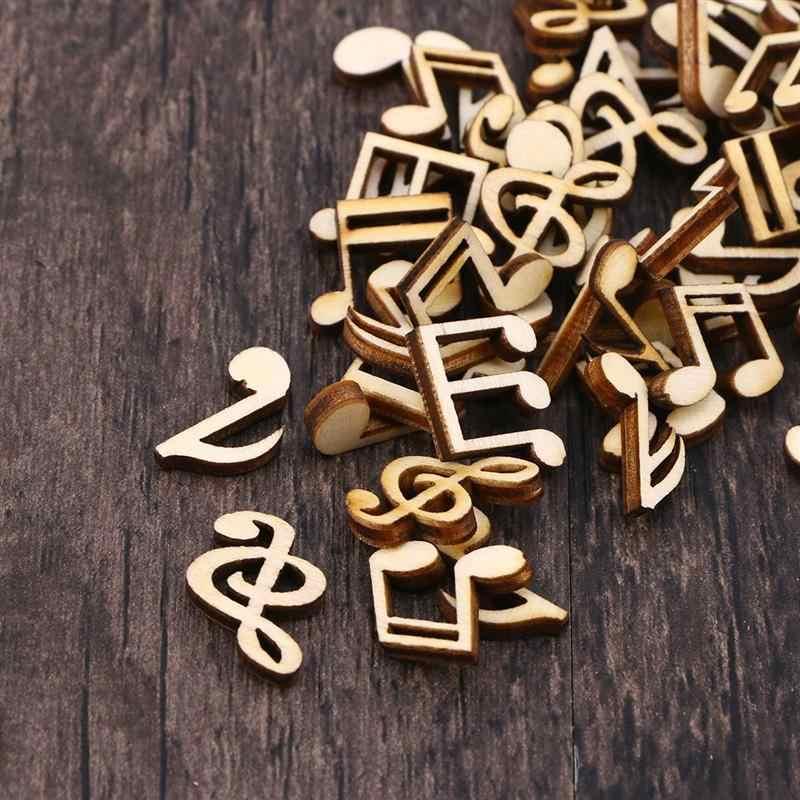 100 قطعة الإبداعية الموسيقية ملاحظات التعليمية خشبية القواطع ل الزينة DIY الحرفية سكرابوكينغ الخشب DIY الحرف A3