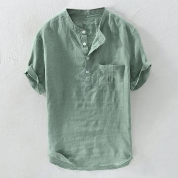 Męski letni gorący czysty konopny guzik z krótkimi rękawami koszula z mieszanki bawełny i lnu z kieszeniami Harajuku duża bluza wkładana przez głowę Top dla 2019 mężczyzn tanie i dobre opinie Hxroolrp Casual Shirts Linen Swetry Koszule 9416516 Suknem Solid STAND Na co dzień REGULAR Short Sleeve linen shirt Men summer blouses 2019
