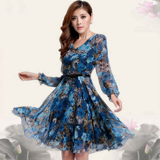 44886b96305e New Fashion Designer Women Casual Dresses Lady Full Sleeve Summer Print  Dress Plus Size Free Shipping