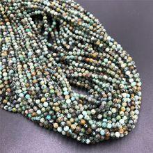 Высокое качество, натуральная африканская бирюза, бусины, размер 2 мм, 3 мм, 4 мм, полудрагоценные камни, камень, граненые бусины, сделай сам, ювелирное изделие