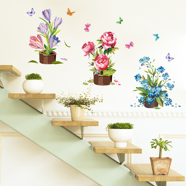 Hand Painted Potted Wall Sticker Flower Vinyl Stickers Wall Sticker For  Kids Rooms Muurstickers Home