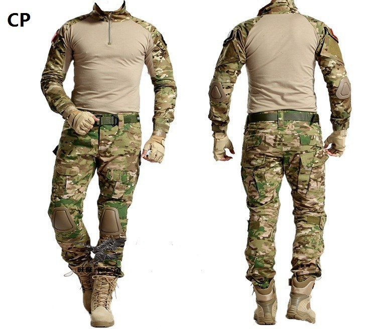 ФОТО Military US Army Multicam uniforms CP Combat Shirt and Cargo Pants with Knee Pads  SWAT tactical Hunting Airsoft Uniform Clothes