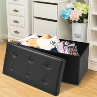 30 Large Folding Ottoman Storage Seat Modern Stool Simple Faux Leather Folding Ottoman Storage Box Bedroom Bench HW51345
