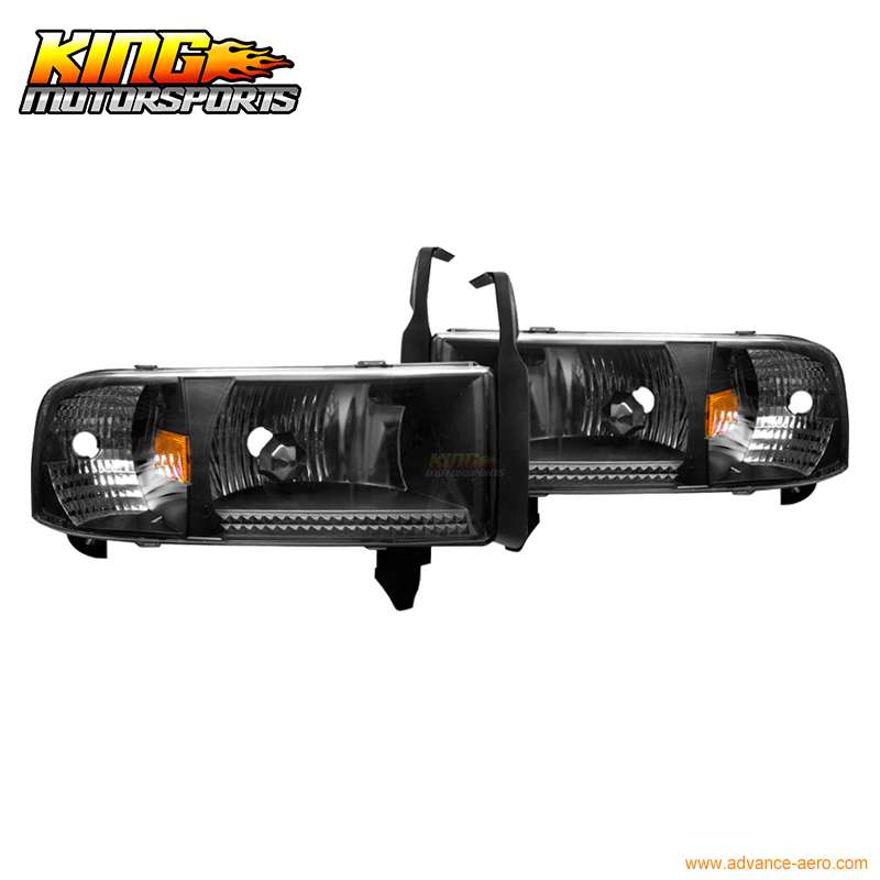 For 94-00 01 Dodge Ram 1500 2500 3500 Headlights Black Clear Lamps 2002 USA Domestic Free Shipping Hot Selling