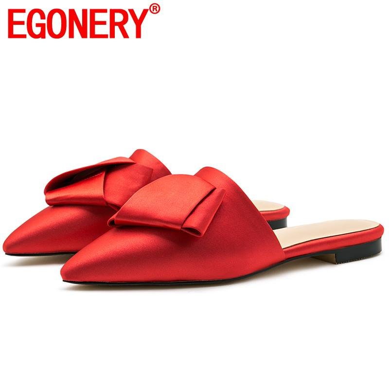 EGONERY silk butterfly knot woman slippers genuine leather sheepskin insole mules shoes red black fashion summer