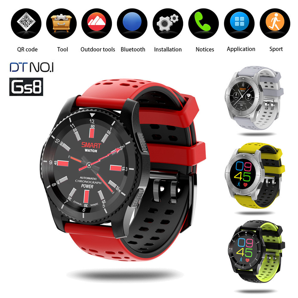 Smart Wrist Watch Bluetooth Fashion GS8 Waterproof GPS Blood Pressure Heart Rate Wristwatch For Android system IOS system BFOF jaysdarel heart rate blood pressure monitor smart watch no 1 gs8 sim card sms call bluetooth smart wristwatch for android ios